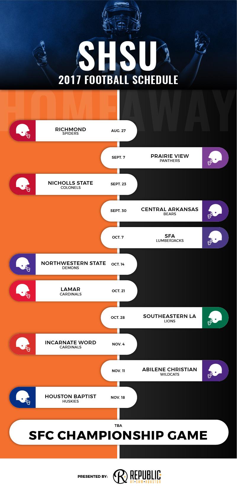 SHSU 2017 Football Schedule Infographic