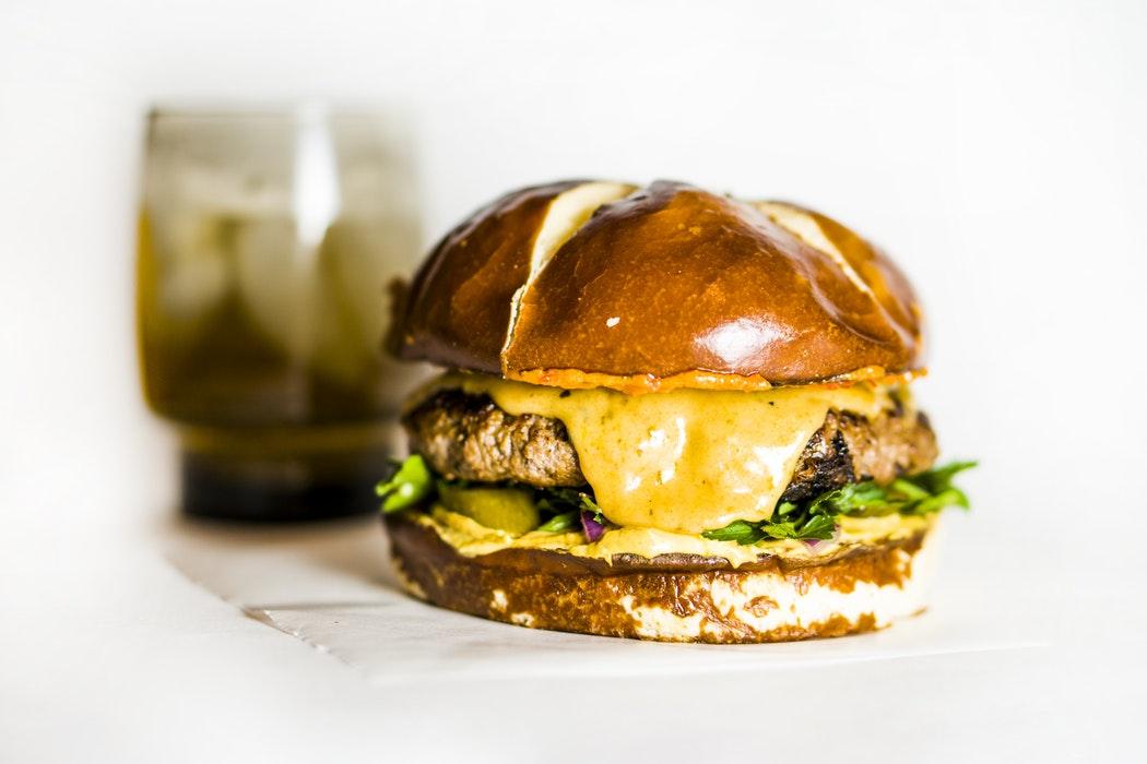 Cheeseburger with pretzel bun